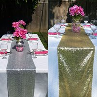 Wholesale Europe quot x108 quot X275cm X Bling Sequin Table Runner Wedding Even Party Decoration Gold Silver Champagne Color