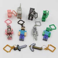 Wholesale 2015 new Compatible For Minecraft Key chain Toys For Home Decoration Micro World Hanger Keyring Clip Figures