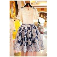 korean - Girls Elegant Summer Sets Korean New Summer Crochet Lace Embroidered Shirt Organza Tutu Skirt Flower two piece Sets
