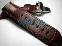 Wholesale PAM312PAM111 Quality Button Butterfly Buckle Watch Band For Panerai mm Brown Leather Strap Calf Material
