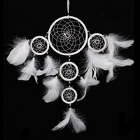 Wholesale New Arrival Dream Catcher Handmade Circles Feather Wall Hanging Decoration Decor White Ornament Gift