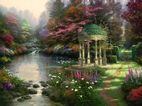 Wholesale oil Painting Thomas Kinkade art for sale The Garden of Prayer Canvas Hand painted High quality