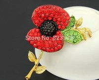 Wholesale DHL300pcs Freeshipping Red Crystal Beautiful Poppy Flower Brooch