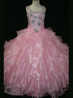 Wholesale Real Image Pink Girls Pageant Dresses with Beads Crystal Shiny Girls Princess Party Gowns Ruffles Flower Girls Dress