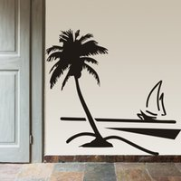 Wholesale Beach Coconut palm tree Sailboat wall art bathroom glass modern art mural Home decor large d vinyl wall decal sticker