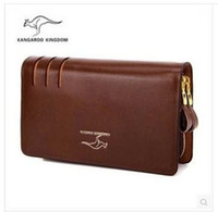 authentic wallets - Brand authentic wallet kangaroo leather hand bag men long wallet man purse leather cowhide phone package