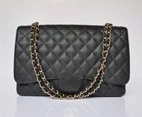 Wholesale 2015 Women famous brand Caviar Leather bag Quilted Genuine Leather Double Flap Maxi Shoulder bag Messenger Chain Bag