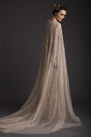 Wholesale 2015 Wedding Dresses A Line Crew Champagne See Through Tulle Bridal Gowns Appliques Beads Watteau Evening Dress Krikor Jabotian Prom Gown