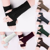 Wholesale New Winter Knitted Fingerless Gloves Warm Wool Knit Women Ladies Girls Thermal Hand Wrist Mitten For Driving Cars Office Work