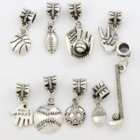 ball flower antiques - 9Styles Antique Silver Sports Ball Charm Metal Big Hole Beads Fit European Charm Bracelets Jewelry DIY