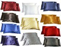 Wholesale 2pc New Queen Standard Silk y Satin Pillow Case Multiple Colors