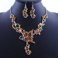 pink jewelry - Fashion Butterfly Pendant Jewelry Sets Included Acrylic Necklace and Earrings Color Dorp Shipping