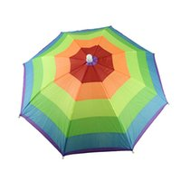 best golf umbrellas - Best seller Umbrella Hat Cap Multicolor Rainbow Brock Hands Free Head Strap Golf Sun amp Rain May