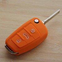 audi tt keychain - Orange silicone car key cover case for Audi A1 A3 A4 A5 A6 A7 A8 Q5 Q7 R8 TT S5 S6 S7 S8 SQ5 RS5 fold flip key remote keychain keyring