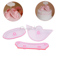 Wholesale 3pcs Plastic Fondant Baby Bootee Cutter Baby Shoes Mold Cake Decoration Tools for DIY Cake Sugar Craft Decorating HB010PQ P