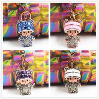 Wholesale Popular Cute Inlay crystal dolls porte clef Monchichi KeyChain fur pom pom ball Key chain Car key ring Women Bag Accessories monchhichi keyc