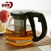 Wholesale Green Apple pyrex teapot flower tea teapot stainless steel teapot filter liner ml
