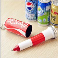 Wholesale Creative Cute Drink Cans design Telescopic ball point pen with Key buckle DIY Multifunction pen Funny free ship