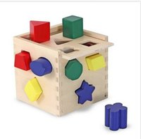 Wholesale Christmas Baby The Best Gift Melissa and Doug Wooden Shape Sorting Cube Activity Block NEW NIB