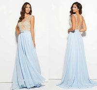 baby beach pictures - Elegant Pearls Baby Blue Evening Dresses Sheer Bateau Neck Backless Chiffon Beach Style Cheap Prom Pageant Formal Gown Dress Custom