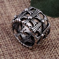 Wholesale Brand classic cross men ring jewelry fashion simple cool antique silver hip hop punk man finger ring R93