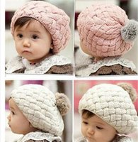 Wholesale Fashion Winter Warm Cute Baby Kids Girls Toddler Knitted Crochet Beanie Hat Cap