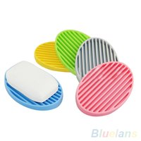 Wholesale Creative Silicone Flexible Toilet Soap Holder Plate Bathroom Soapbox Soap Dish MUO