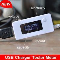Wholesale High quality LED USB detector voltmeter ammeter power capacity tester Mobile Power USB Charger Tester Meter USB Test