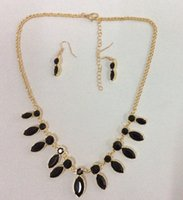 asian honeys - Honey bee casted drops with glass stones necklace and earring set