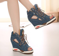 high heel sandals - Summer Open The Toe Wedge High Heels Denim Sandals Platform Cut Out Peep Toe Lace Up Side Zipper Women Sandal Shoes New Jeans SXQ0803