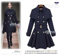 Wholesale New Fashion Autumn Winter Women Tweed Coat Capelet Turn Down Collar Double Breasted Long Outerwear Slim Trench Coat