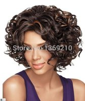 Wholesale Chic Cut Charming Sherri Shepherd Hairstyle Soft Curl Mix Color Capless Synthetic Hair Wigs About Inches