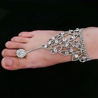 beach bracelets - 2016 Summer Rhinestone Barefoot Sandals Beach Bridal Foot Chains Jewelry Ankle Bracelet With Toe Ring Foot Ankle Bracelets For Women