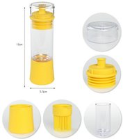 Wholesale Silicone Honey Oil Bottle with Brush for Barbecue Cooking Baking Pancake BBQ Tools Kitchen Accessories barbacoa Storage Bottles