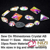 Wholesale Sew On Rhinestones Mixed Shapes Flatback Resin Rhinestones Crystal AB Stone For Dress Making Shiny Sew On Rhinestones