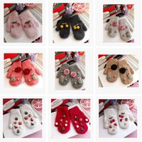 Wholesale Winter Gloves Mittens Rabbit Fur Gloves Warm Adult Gloves Crown Bear Pearl Plaid Gloves Christmas Gloves Women s Gloves Mittens m970