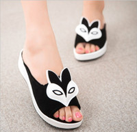 Wholesale 2015 New Hot Sale Women s Fox Head Slippers Sandals Low Heel Flat Heel Beach Platform Sandal For Women Home House Indoor Slipper Black White