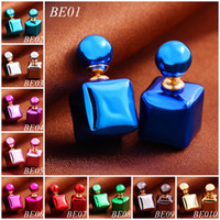 Wholesale Fashion Newest Women Double Earring Jewelry Lady Pearl Double Stud Earrings Mix color Free Pairs