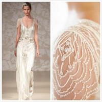 beaded overlays - Jenny Packham Sheath Wedding Dresses Luxury Sheer Back Beaded Bridal Gowns Overlay Elegant Prom Evening Party Dresses
