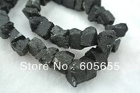 Cheap Black Tourmaline Stone Rough Beads for Fashion Jewelry Christmas 5 strands Lot Free Ship