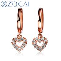 genuine diamond earrings - ZOCAI New Arrival butterfly ct natural genuine diamond K rose gold drop earrings fine jewelry