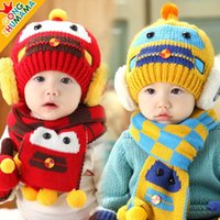 Wholesale 2014 New Winter Children s hats Color Cartoon Robot knitted Plus velvet boys and girls caps scarf two pieces