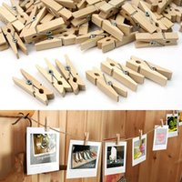 Wholesale 50 MM Mini Natural Wooden Clothe Photo Paper Peg Clothespin Craft Clips F13003