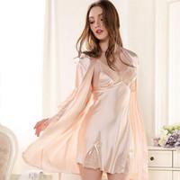 Wholesale 002 New Women Nightclothes Nightdress Sexy Lacework Pajamas Sleepwear Faux Silk Nightgown Robe Gown