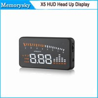 Wholesale 3inch Auto Car X5 HUD Head Up Display Fuel Consumption Overspeed Warning Windshield Project Alarm System OBD Interface