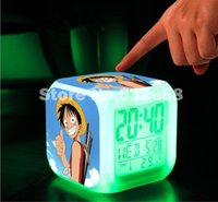 Wholesale Retail colorful LED bells Changed Digital Colors Alarm Clocks Pirates One Piece led toys