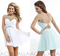 Cheap Dazzing Sexy Crystals Cocktail Graduation Dress 2015 Homecoming Dresses Cheap Sheer Chiffon White Light Sky Blue Short Mini Party Prom Gowns