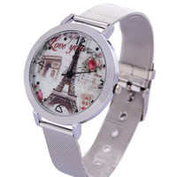best made watches for men - New China Made Fashion Eiffel Tower Pattern Wrist Watch Stainless Steel Wristwatches For Women and Men Best Gifts