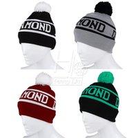 Wholesale Winter Unisex Diamond Knit Ski Warm Crochet Slouch Hat Hip hop Ball Beanie Cap Drop Shipping