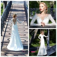 off the shoulder tops - 2016 New Off The Shoulder A Line Wedding Dresses Lace Beaded Top Satin Court Train Bridal Gowns Long Sleeves Wedding Dresses BO9329